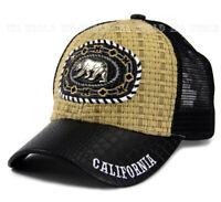 BEAR California Straw Woven Hat Metal Patched Mesh Snapback Baseball Cap- Beige