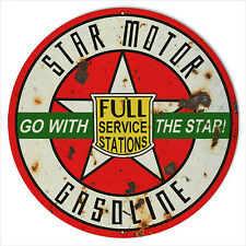 Extra Large Green Go With Star Gasoline Sign 24 Round