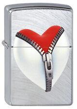 ZIPPO Feuerzeug ZIP HEART Chrome Arch Herz mit Reißverschluss NEU OVP