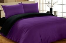 DOUBLE COMPLETE REVERSIBLE PURPLE / BLACK DUVET COVER & FITTED SHEET BED SET