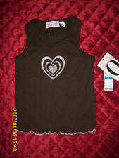 BABY Q SLEEVELESS SUMMER TOP BROWN WITH PINK HEART TODDLER INFANT BABY CHILD
