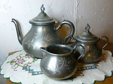 Brittannia Metal Co. 3 Pc Set Teapot Creamer and  Sugar Lovely Set great Design