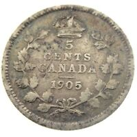 1905 Canada 5 Cents Small Silver Circulated Edward VII Five Cents Coin P446