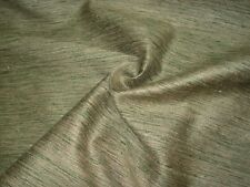BTY 100% SILK  OLIVE GREEN GOLD SILK DRAPERY UPHOLSTERY FABRIC FOR LESS