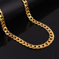 18K Gold Plated Stainless Steel Men Women Cuban Link Curb Chain Necklace Chain