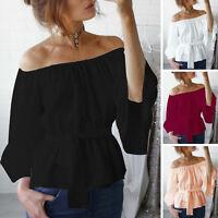 Fashion Womens Loose Off Shoulder Top Blouse Summer Chiffon Tunic Shirt Tops