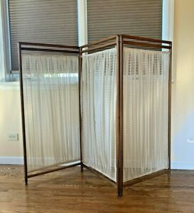 Antique Vintage Tree Panel Folding Screen Room Divider Wood Curtain