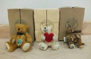 Mayfair Edition Miniature Teddy Bears Ltd Ed Boxed Bugsy, Maurice & Oliver (Mer)
