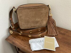 Michael Kors Brooklyn Caramel Brown Leather and Suede Camera Bag NWT!