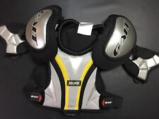 DEBEER MAYHEM LACROSSE SHOULDER PADS BLACK/SILVER/YELLOW SIZE SMALL