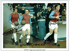 Geoff HURST Frank LAMPARD Jimmy GREAVES Signed Autograph Photo West Ham COA