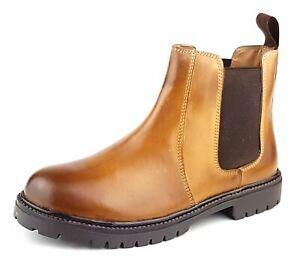 Frank James Rutland Boys Girls Ladies Chelsea Ankle Leather Dealer Boots Tan