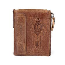Men Cowhide Leather Zipper Billfold Wallet RFID Blocking Card Hodler Coin Purse