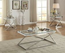 3 PC Bright Silver Chromed Metal Tempered Glass Coffee End Occasional Table Set