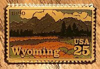 Wyoming 1890 Commemorative USPS 25 Cent Postage Stamp Lapel Hat Pin Pinback