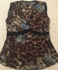 LAUNDRY Shelli Blouse Top Animal Print Floral Chiffon Camisole Tank L Large