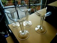 Set 4 French Champagne Coupes Cut Hollow Baccarat Stem 7 Petal Crystal Antique