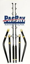 PAIR OF STRAIGHT AND BENT BUTT TROLLING ROD PACIFIC BAY ROLLER GUIDES 50-80LB
