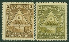 EDW1949SELL : NICARAGUA 1898 Scott #108, 109E Both Very Fine, Mint NG Cat $44