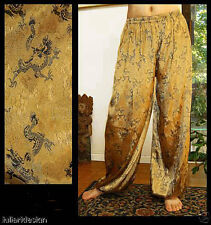 Harem Pants Belly Dance Bright Gold with Black Dragon Sparkle