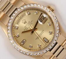 Rolex Day-Date President 18k Gold 18038-Champagne Diamond Dial-Diamond Bezel