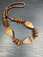 "Vintage Bohemian Exotic Large Wood Beaded Bib Necklace 20"" Shades Of brown tan"
