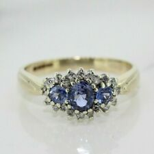 9ct Yellow Gold Sapphire and Diamond Cluster Ring (Size N)