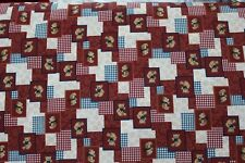 100 % Cotton fabric ~ Red checks with Bears ~ BTY