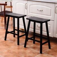 2Pcs Pine Wood Saddle Seat Bar Stool Wooden Kitchen Chairs Furniture W/ Footrest