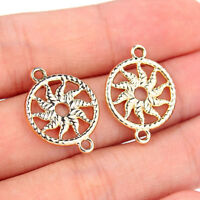 10Pcs Gold Round Sun Connector Charm Bead DIY Bracelet Craft Making Accessory