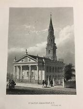 1857 St Paul's Church Broadway New York Original Antique Engraving