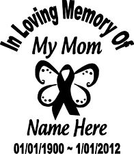 In Loving Memory Mom Ribbon Butterfly Custom Vinyl Decal Sticker Car Home Window