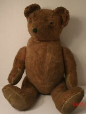 "Vintage Stuffed Plush Jointed Teddy Bear Brown Pointed Nose 16"" Old Antique"