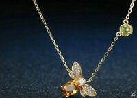 "14k Yellow Gold Over 5x7mm Citrine,Peridot & Diamond Pendant 18"" Chain Necklace"