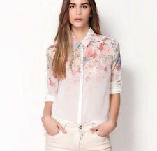 Fashion Women Summer T-Shirt Floral Chiffon Vest Long Sleeve Blouse Shirt Tops L