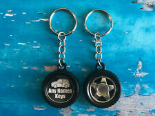 Personalised Motor Car Wheel Keyring - Family Car - Add Name or Reg - Great Gift