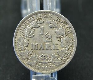 1915   F   German 1/2  Reich Mark Silver Coin  -  Very Nice Collectable Coin.