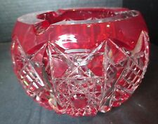 "Red American Brilliant Cut Bowl Hobnob Star Deep Cut Small 4 1/2"" Wide 3"" Tall"