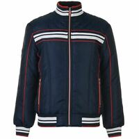 Lonsdale Bomber Jacket Mens Gents - Midweight Coat Top Zip Zipped Stripe Winter