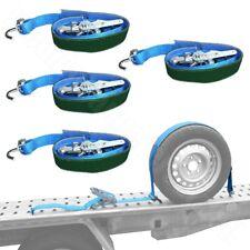 4x Autospanngurt Reifenspanngurt Reifenzurrgurt Dreipunktgurt mit schmalen Haken