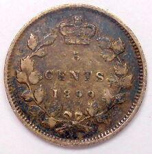 1899 Five Cents SILVER VF ** Attractive HIGH Grade Deep TONED Victoria Canada 5¢