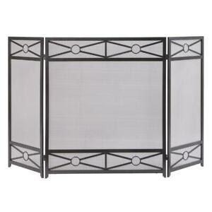 Pleasant Hearth Fireplace Screen 3-Panel Vintage Iron Gray Crisscross Pattern