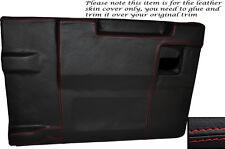 RED Stitch Posteriore PORTELLONE Porta Carte Pelle Copertura si adatta LAND ROVER DEFENDER 83-14