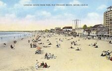 Old Orchard Beach ME Amusement Park~Airplane Ride~Sunbathers 1940s Postcard