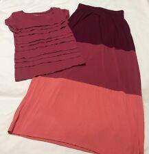 """Womens XS 2/4 Skirt Top 2Pc Outfit Pink ANN TAYLOR LOFT 27-30"""" Waist Cute Ruffle"""