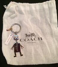 NWT Coach Robot  Key Chain Bag Charm  F65429 Silver/Gold Gift Box Tissue Pouch