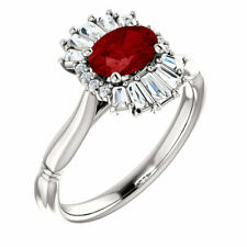 Chatham Created Ruby & 1/4 CT Diamond Halo-Style Ring In Platinum