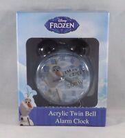Disney Frozen Olaf Acrylic Twin Bell Alarm Clock - New