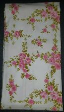 Vintage Retro Queen Flat Sheet Pink Floral Flowers Flannelette Brand New Unused