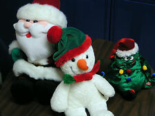CHRISTMAS STUFFED DECORATIONS - SANTA, SNOWMAN, & SINGING TREE